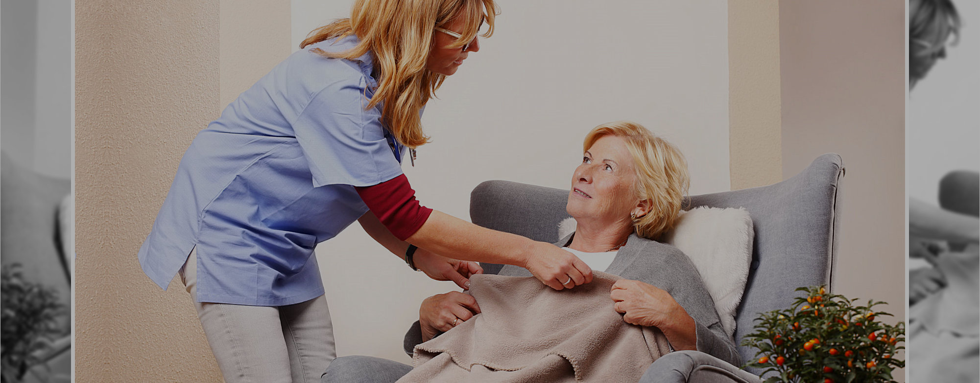 passionate caregiver assisting an old woman